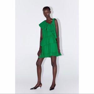 Zara Emerald Green Ruffled One Shoulder Dress